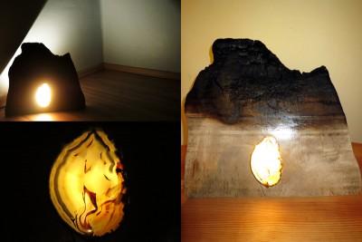 beleuchtetes verbranntes Holz
